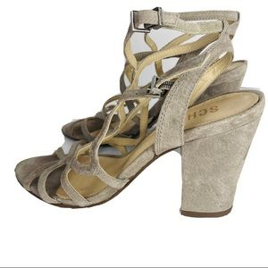 Schutz Cage Suede Taupe Strappy Sandals Heels